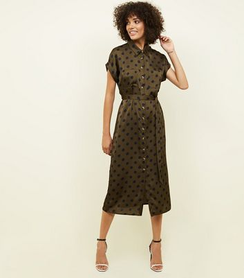 Green Spot Print Satin Midi Shirt Dress