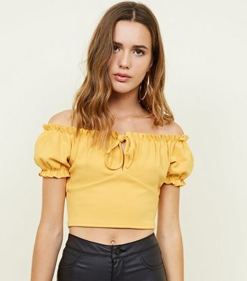 Yellow Bow Front Gathered Bardot Party Crop Top