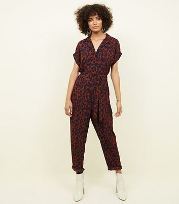 Rust Leopard Print Tapered Leg Jumpsuit