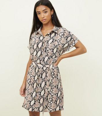 Pink Snake Print Crepe Button Up Dress