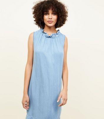 Cameo Rose Blue Frill Neck Tunic Dress