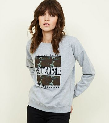 Grey Je T'aime Slogan Box Sweatshirt