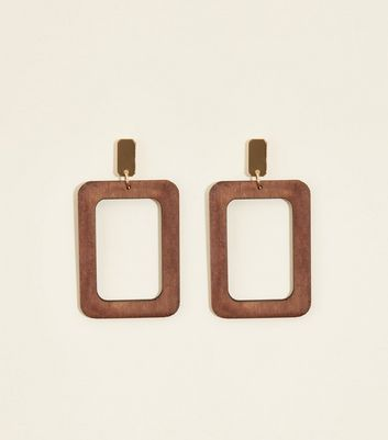 Dark Brown Wooden Rectangle Earrings