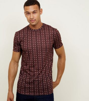Burgundy Tile Print T-Shirt