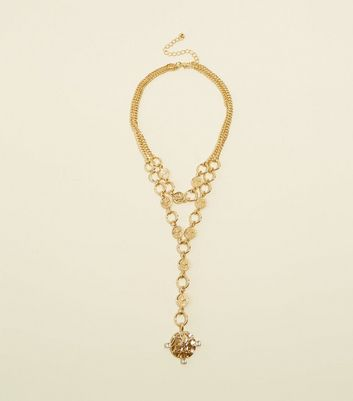Gold Eagle Coin Drop Chain Necklace