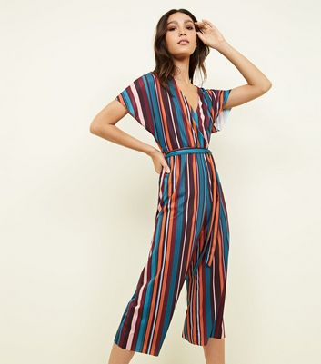 Multi Coloured Stripe Ribbed Wrap Front Jumpsuit