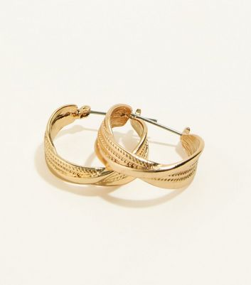 Gold Twist Embossed Huggie Hoop Earrings