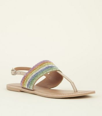 Cream Leather Rainbow Diamanté Sandals