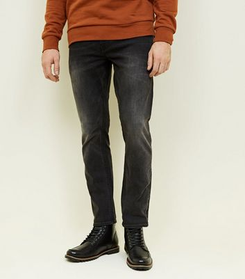 Dark Grey Washed Slim Fit Jeans