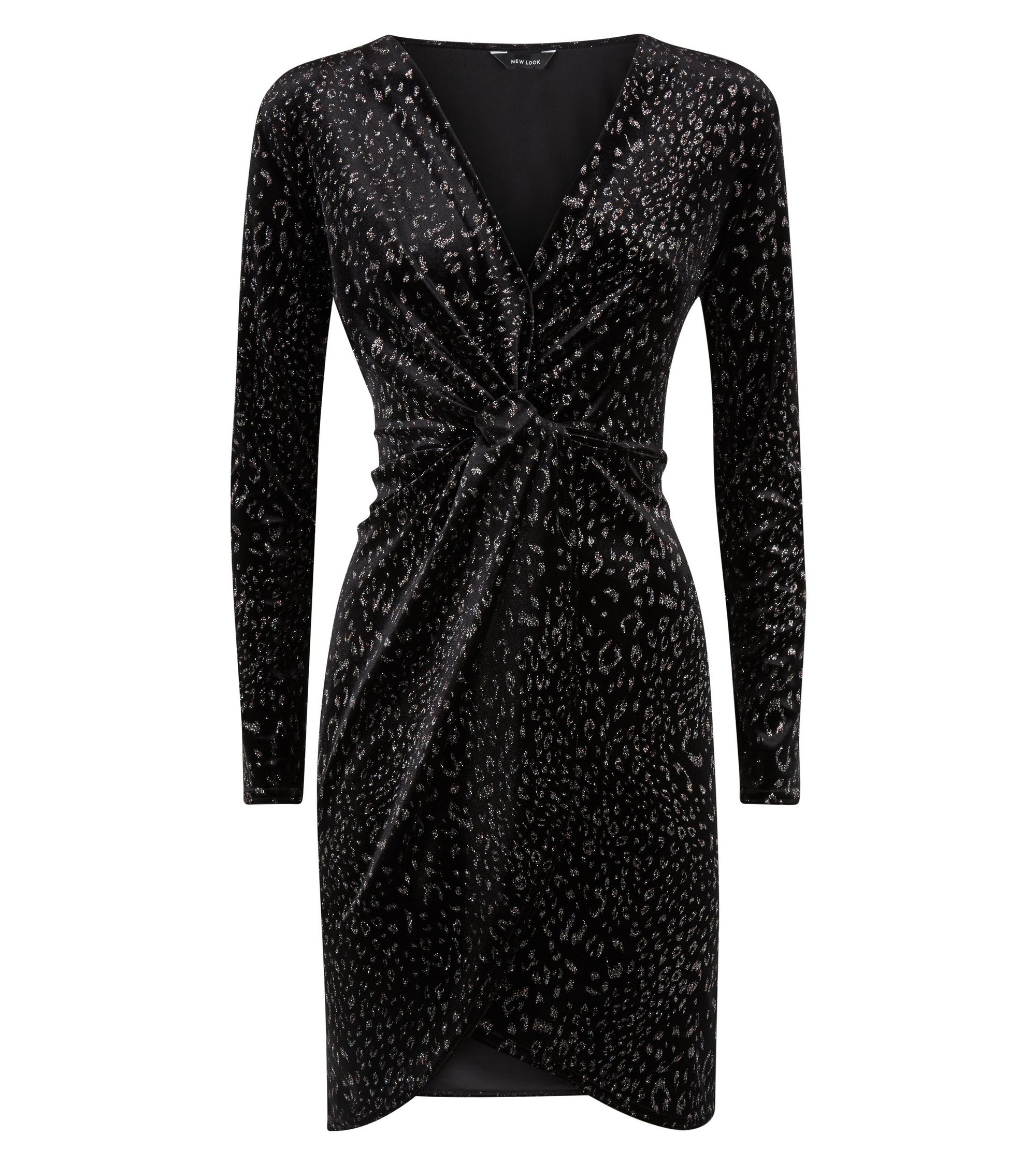 48d9d276b718 New Look Black Velvet Glitter Leopard Print Wrap Dress at £22.49 ...