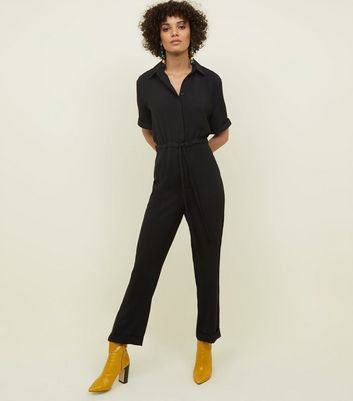 Black Drawstring Waist Jumpsuit by New Look