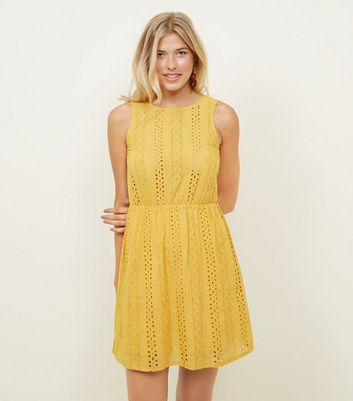 Cameo Rose Mustard Broderie Skater Dress