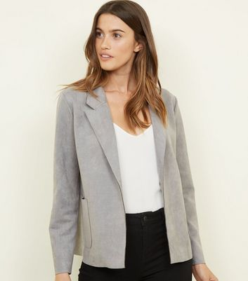 Cameo Rose Grey Suedette Collared Jacket