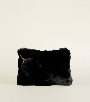 Black Faux Fur Strap Shoulder Bag by New Look