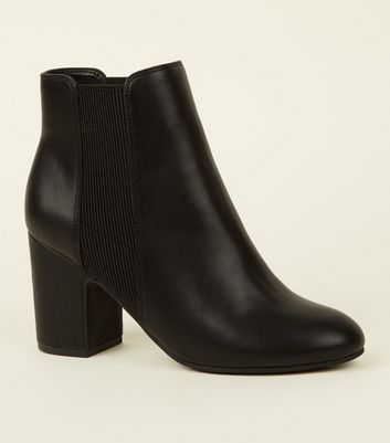 Black Leather Look Block Heel Chelsea Boots by New Look