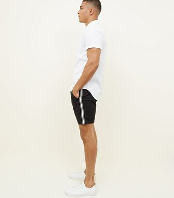 Black Tape Side Stripe Chino Shorts