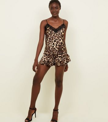 Cameo Rose Brown Leopard Print Frill Trim Shorts
