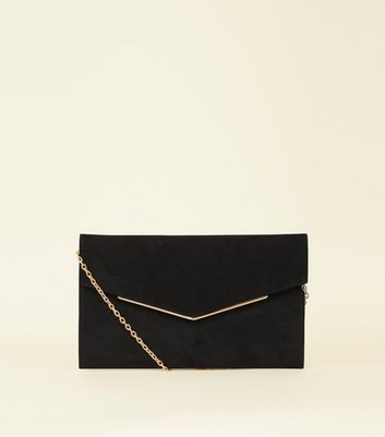 Black Suedette Metal Trim Envelope Clutch by New Look