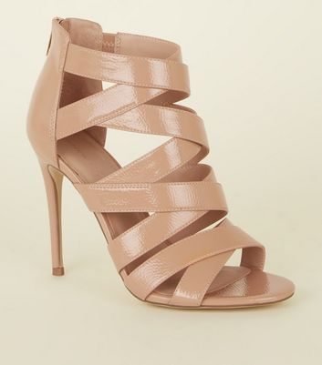 Camel Strappy Leather-Look Stiletto Heel Shoes