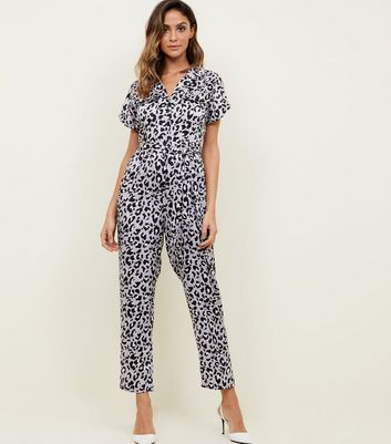 Lilac Leopard Print Satin Twill Jumpsuit by New Look
