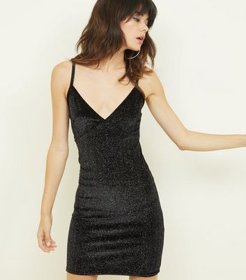 Cameo Rose Black Glitter Velvet Dress
