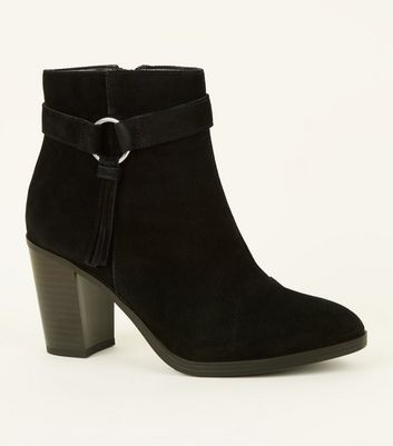 Wide Fit Black Suede Tassel Ring Side Heeled Boots by New Look