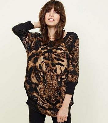 Cameo Rose Brown Tiger Fine Knit Top