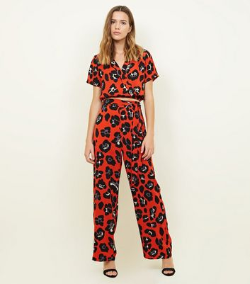Cameo Rose Red Animal Print Trousers