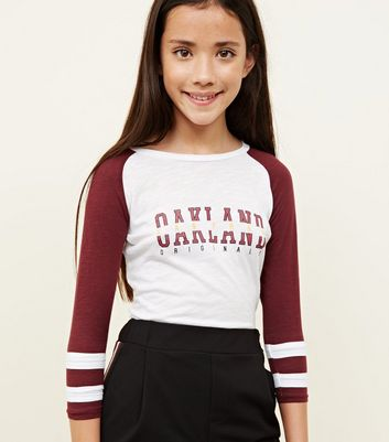Girls Burgundy Oakland Slogan Long Sleeve Top