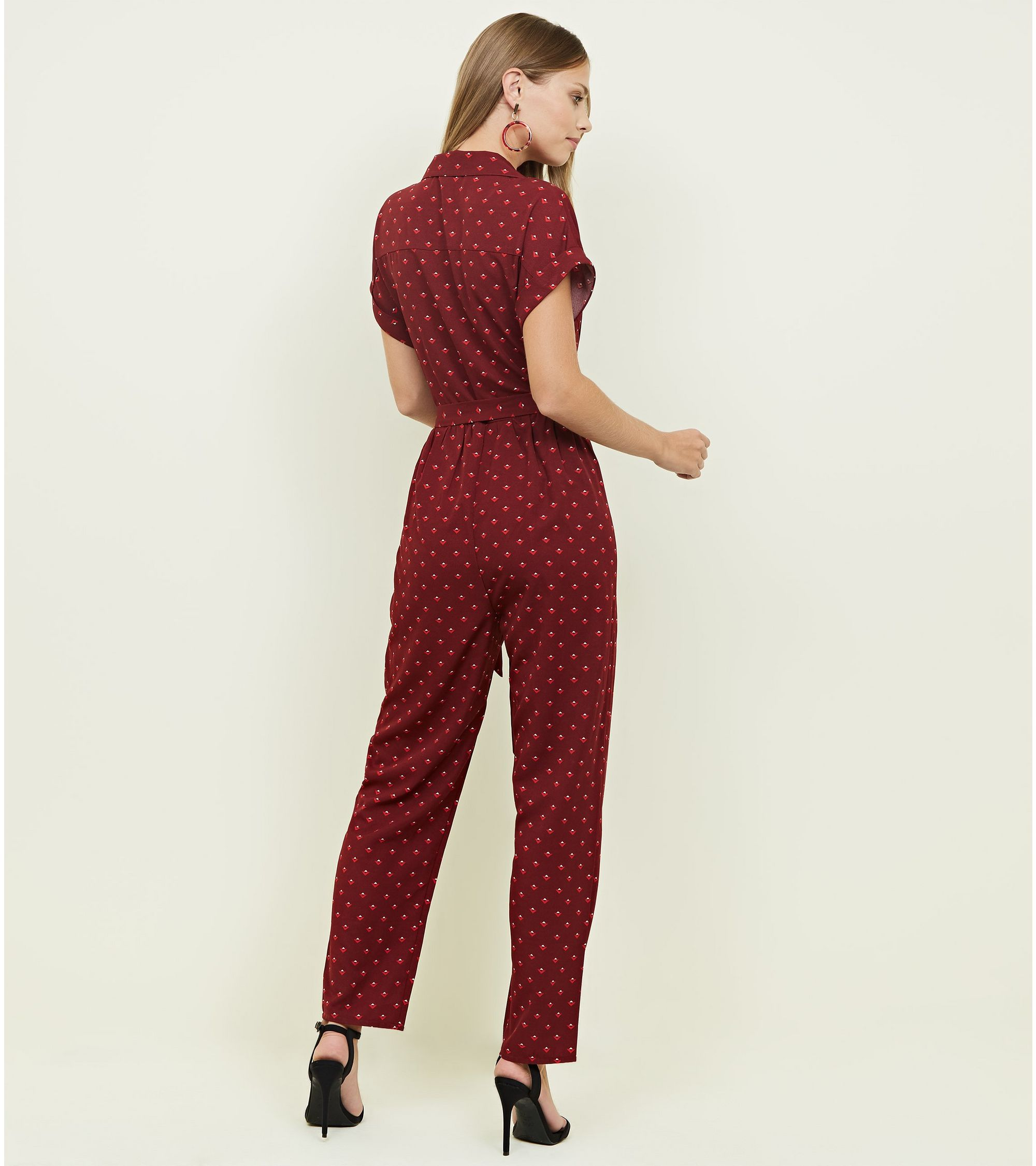 7684aee7c2c New Look Red Geometric Print Twill Utility Jumpsuit at £10