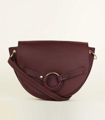 Burgundy Ring Front Saddle Bag by New Look