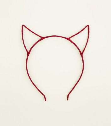 Red Ribbon Wrapped Devil Horns by New Look