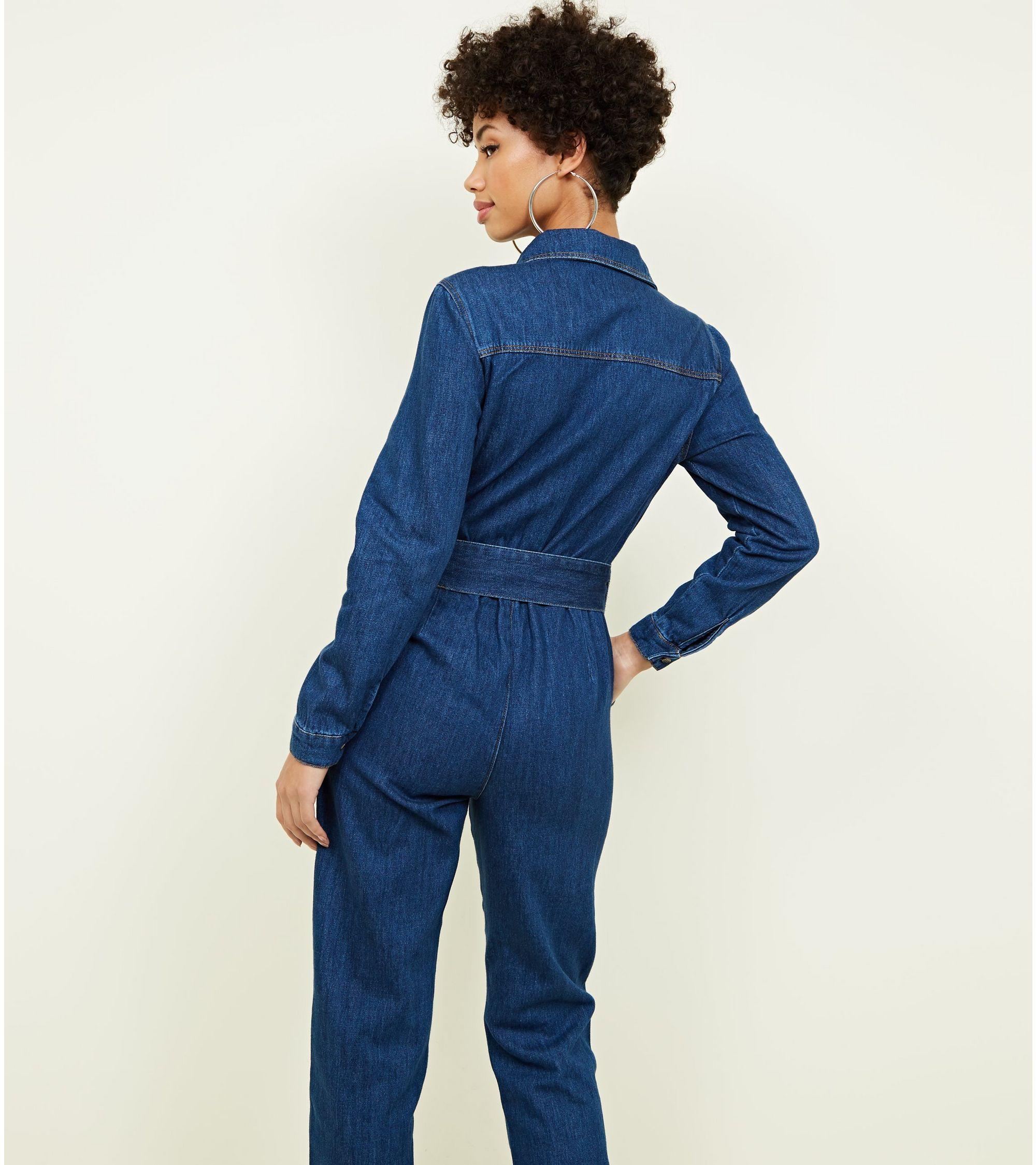 9499f4c67b New Look Blue Denim Cuffed Long Sleeve Jumpsuit at £34.99