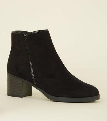 Black Comfort Suedette Patent Trim Ankle Boots by New Look