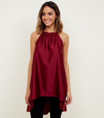 Cameo Rose Burgundy Satin Halterneck Top