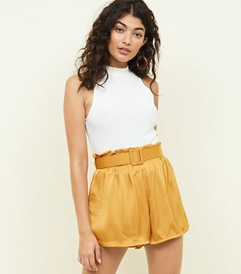 Cameo Rose Mustard Satin Belted Shorts
