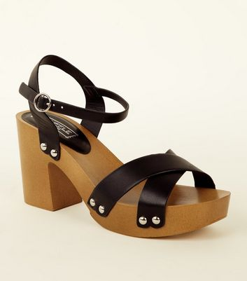 Black Wooden Platform Heeled Sandals