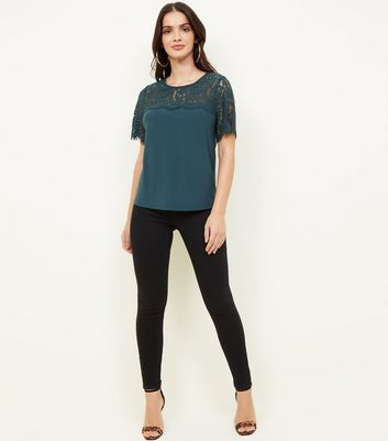 Dark Green Lace Yolk Short Sleeve Top by New Look
