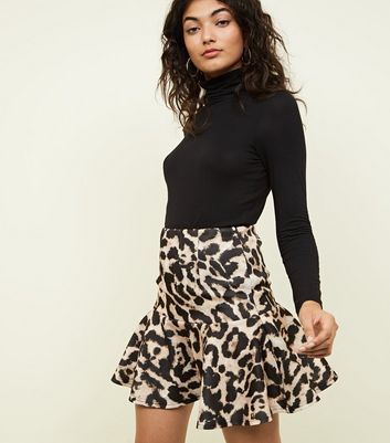 Cameo Rose Brown Leopard Print Frill Skirt