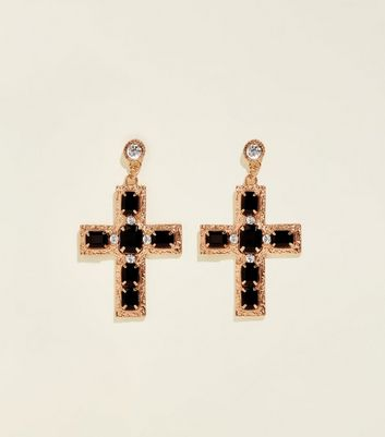 Black Gem And Diamanté Cross Earrings by New Look
