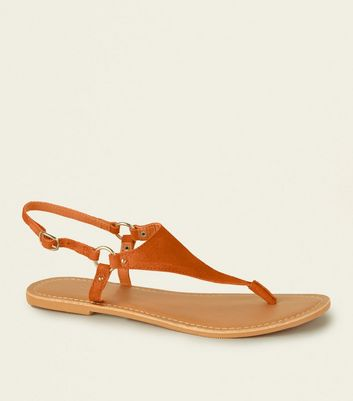 Wide Fit Orange Suede Flat Sandals