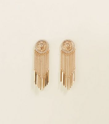Re Born Gold Lion Coin Drop Earrings by New Look