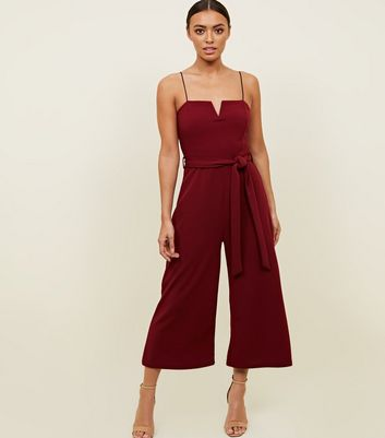 Burgundy Notch Neck Tie Waist Jumpsuit by New Look