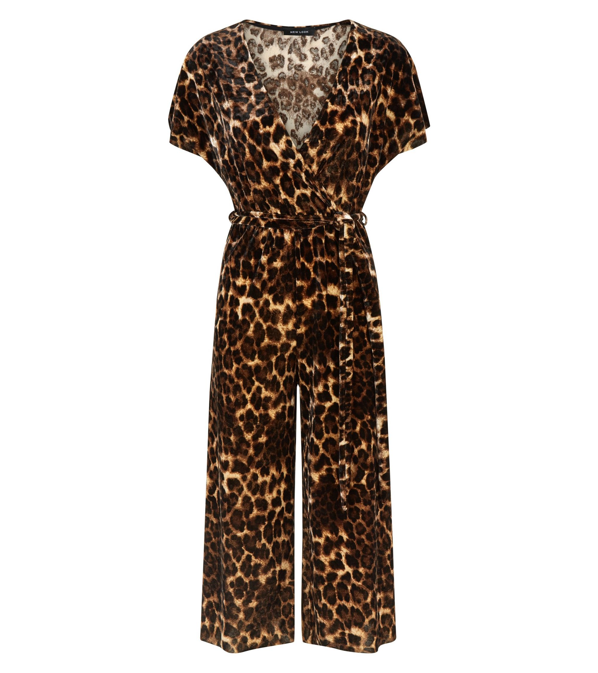 5f06b2ca22 New Look Brown Leopard Print Velvet Wrap Jumpsuit at £22.49