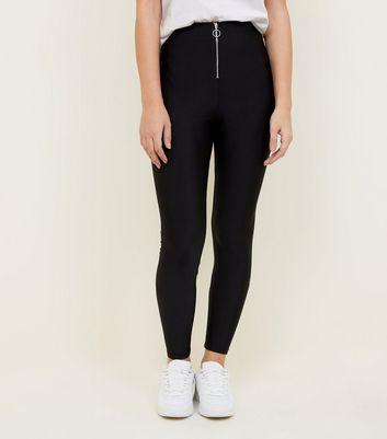 New Look Black Zip Front Disco Leggings
