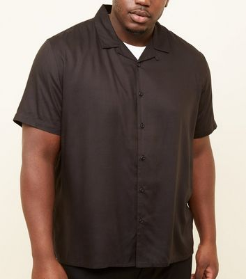 Plus Size Black Revere Collar Shirt