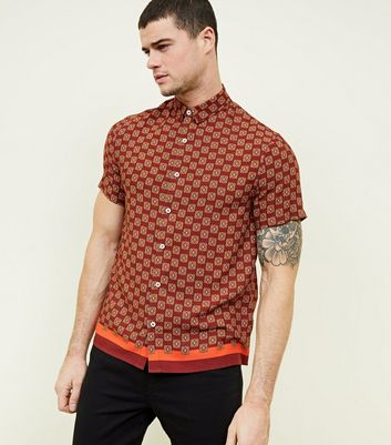 Burgundy Tile Print Short Sleeve Shirt