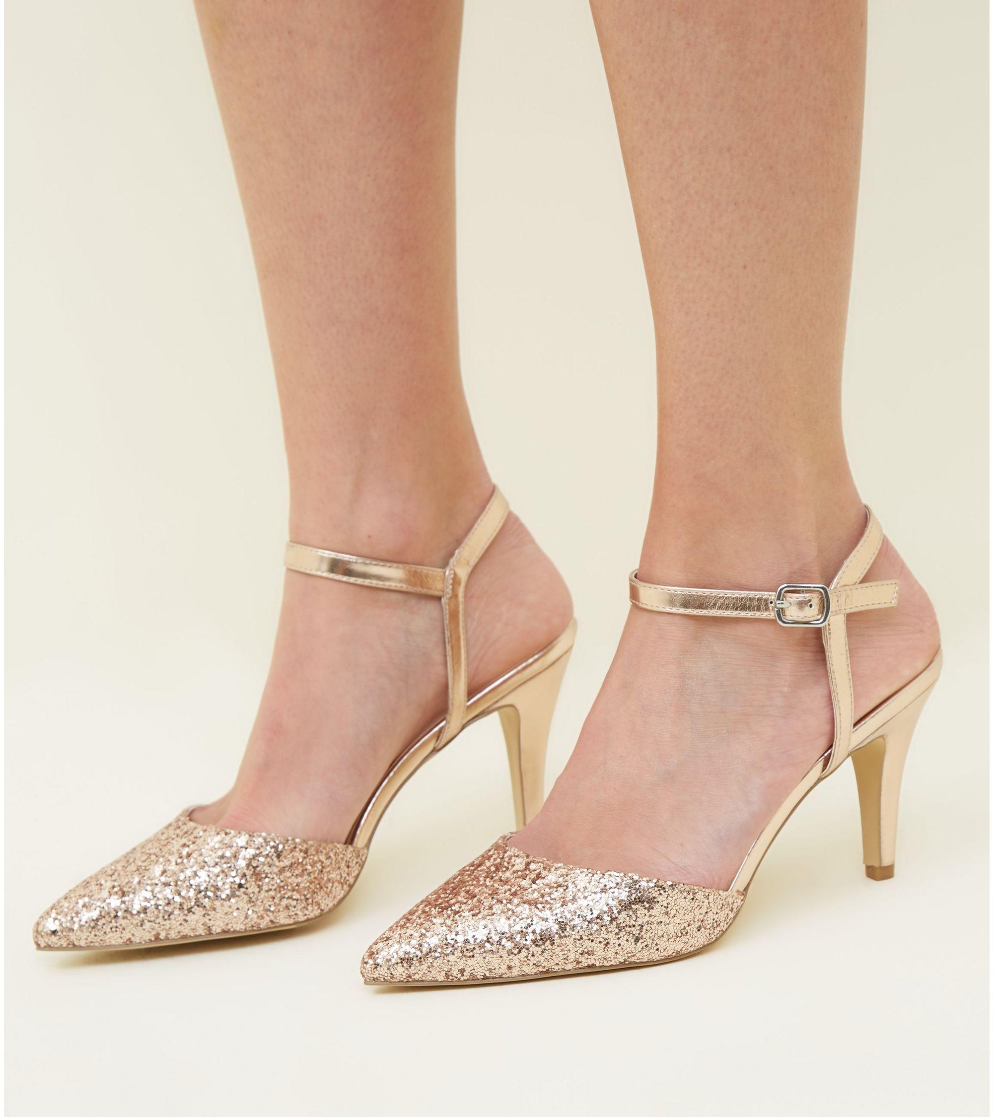 b9d8a5b1b8b4 New Look Wide Fit Rose Gold Glitter Stiletto Heels at £22.99