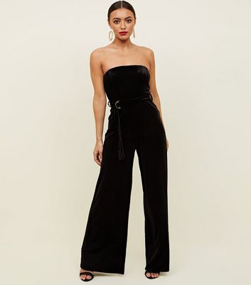 Black Velvet Strapless Belted Jumpsuit by New Look