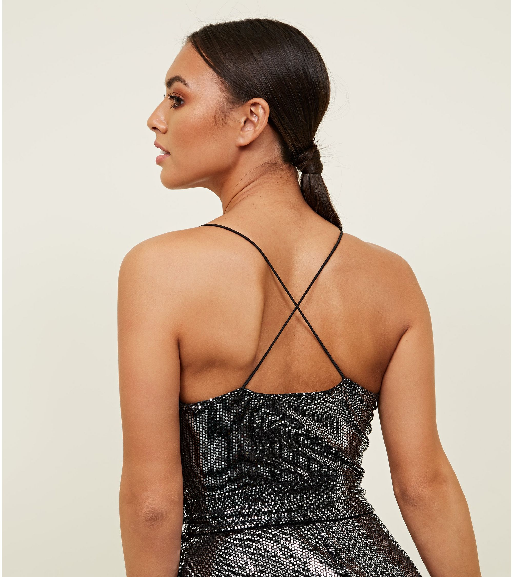 d2754ca5a9d New Look Silver Sequin Strappy Playsuit at £27.99